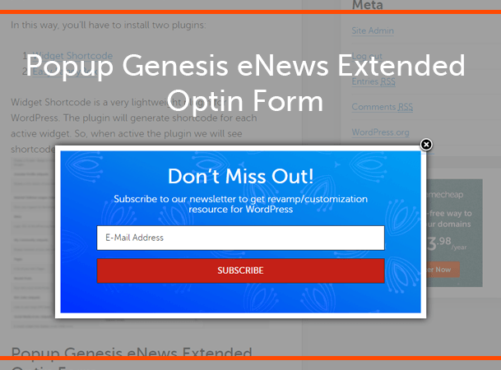 How to Popup Genesis eNews Extended Opt-in Form