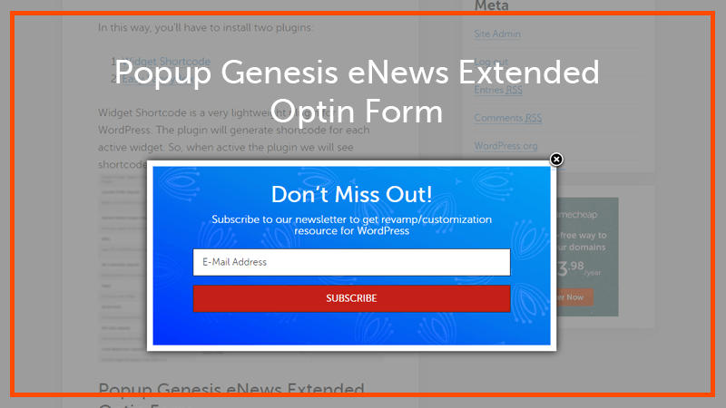 Popup eNews Extended Optin Form