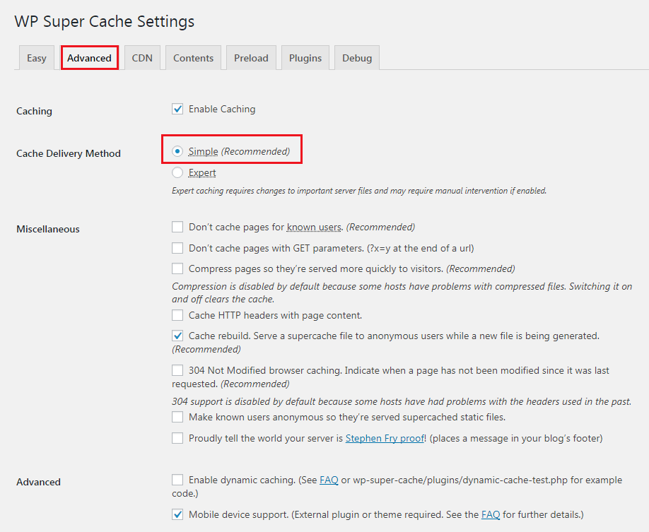 How to Add Caching Engine to WordPress Website - WP Super Cache Advanced Setup