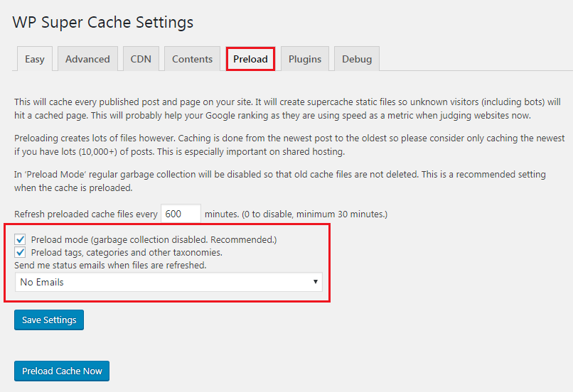 How to Add Caching Engine to WordPress Website - Wp Super Cache Preload Caching Setup