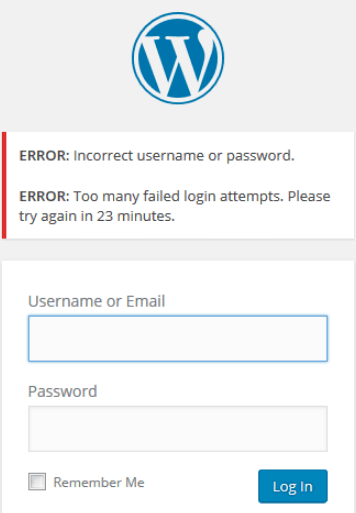 How to Limit WordPress Login Attempts - Failed login Attempts Blocked Example
