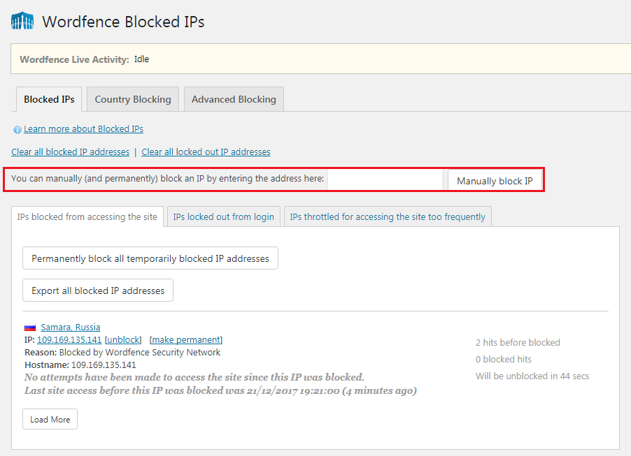 How to Secure Your WordPress Website - Wordfence Blocked IPs