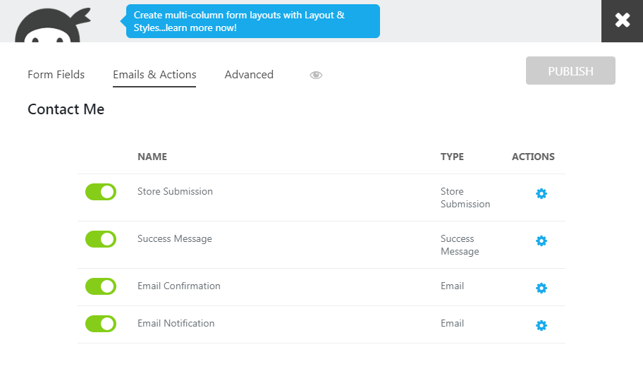 Emails and Action Settings of The Submitted Email Builder