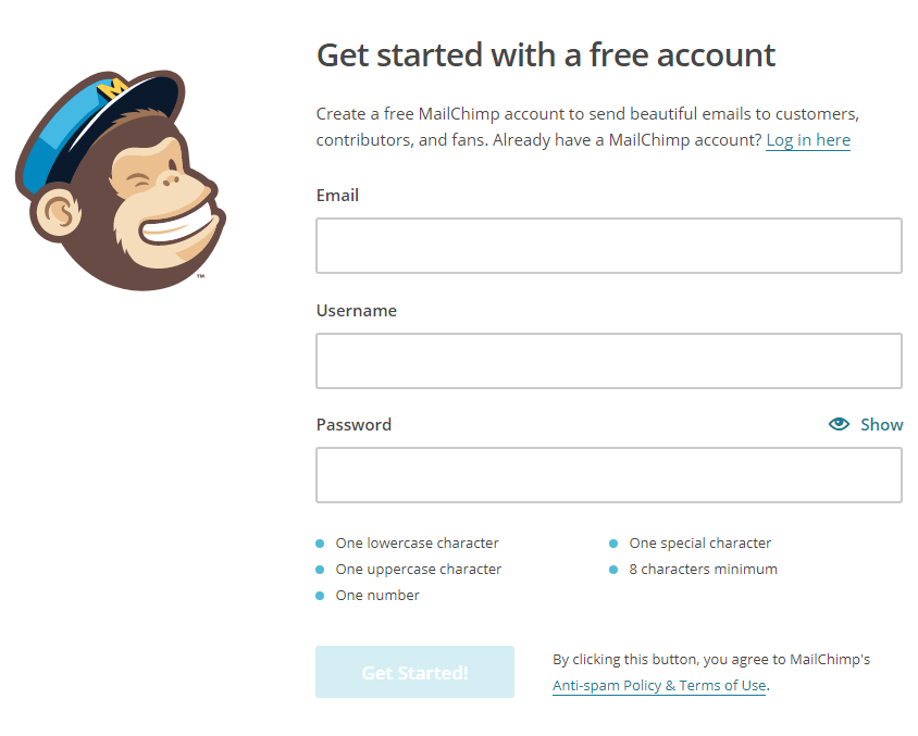 How to Add MailChimp Subscribe Form to WordPress - Getting Your MailChimp Account