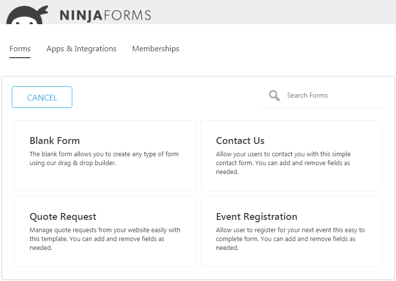 Ninja Forms Dashboard - prebuild templates