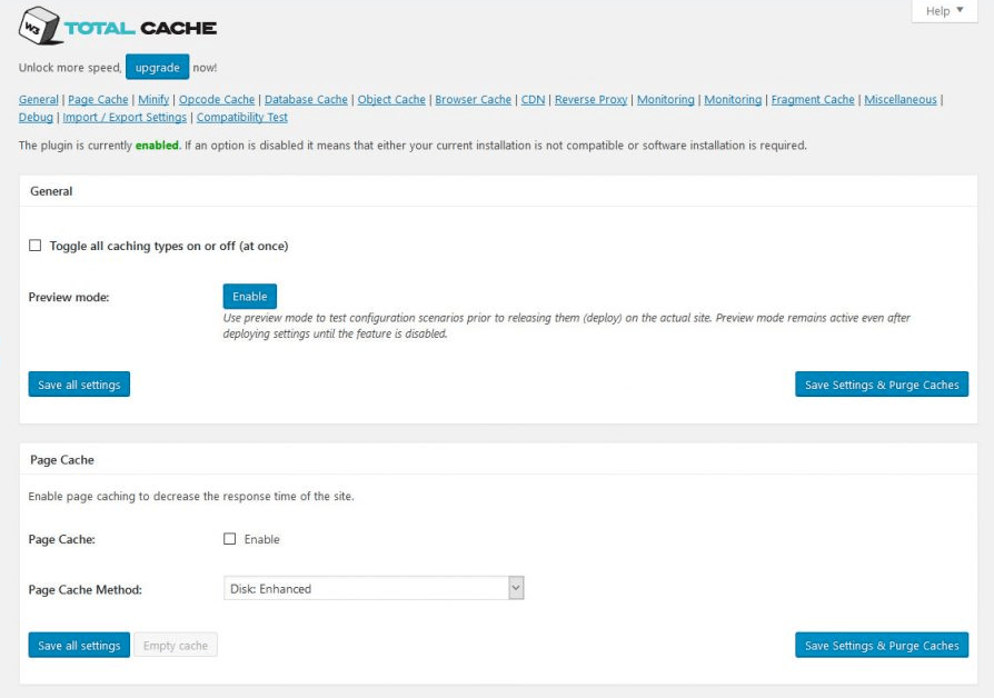 W3 Total Cache vs WP Super Cache - W3 Total Cache Setting Page