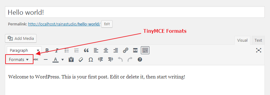 TinyMCE Formats Button