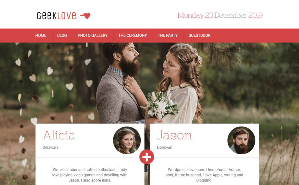 GeekLove – A Responsive WordPress Wedding Theme