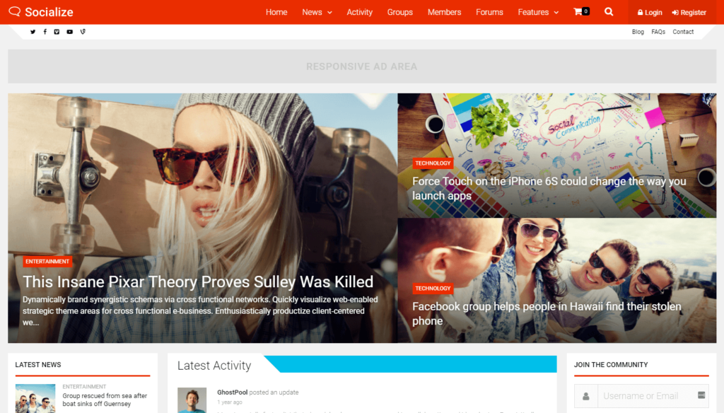 Socialize – Multi-Purpose BuddyPress Theme