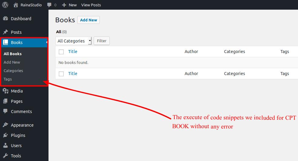 Custom Post Type Books in You Dashboard