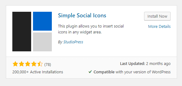 simple social icons plugin