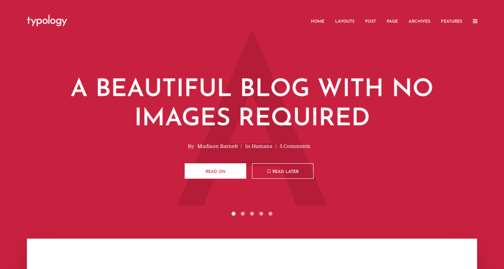Typology - Text Based Minimal Blog Theme