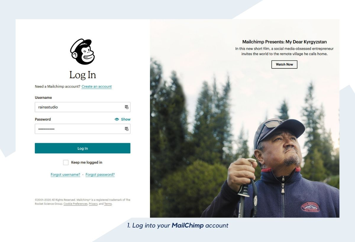 Log into your MailChimp account
