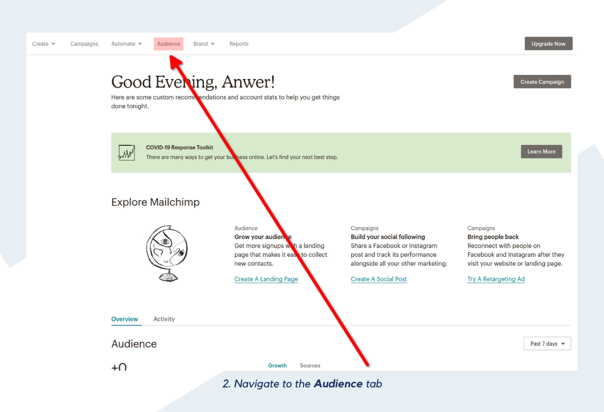 Navigate to the Audience tab