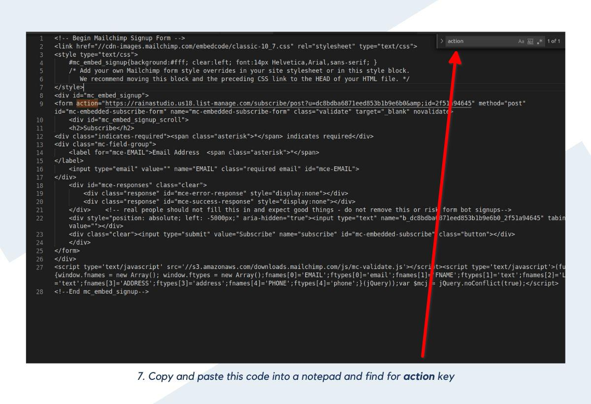 Copy and paste this code into a notepad and find for action key