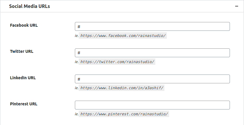 Social Media URLs Option