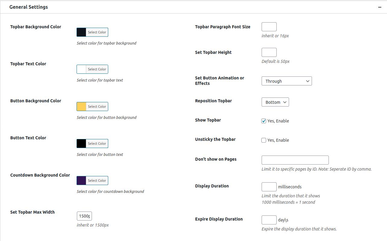 Sticky Genesis Topbar Pro — General Setting Options ‹ RainaStudio — WordPress