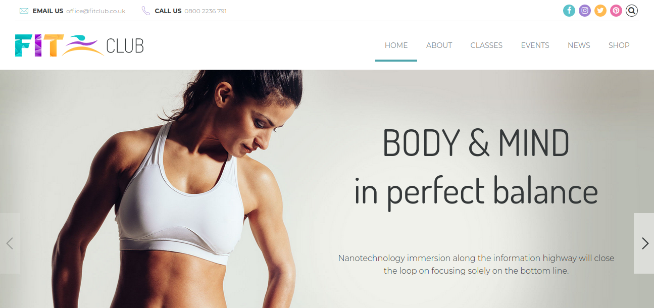 Fitness Club – Gym and Health