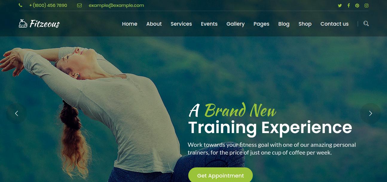 Fitzeous – Personal Fitness Trainer WordPress Theme
