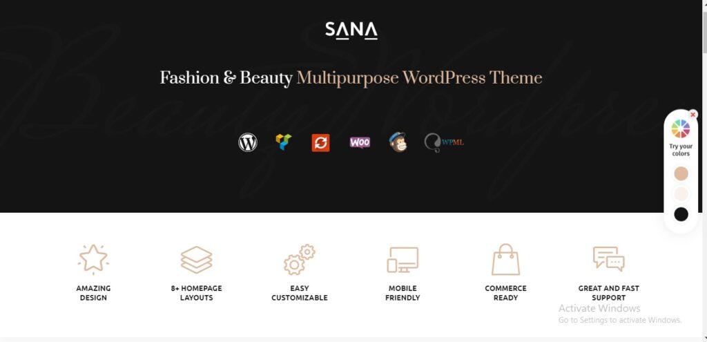 Sana - Fashion Stylist, Beauty Salon and Makeup Artist WordPress Theme