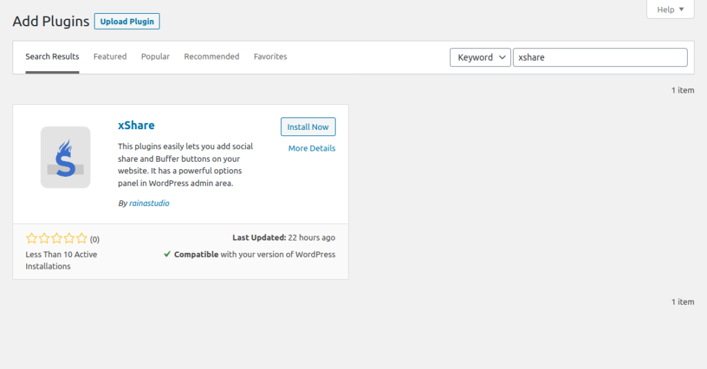 Install xShare Social Share WordPress Plugin