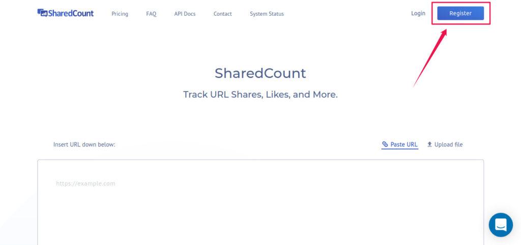 Register SharedCount Account
