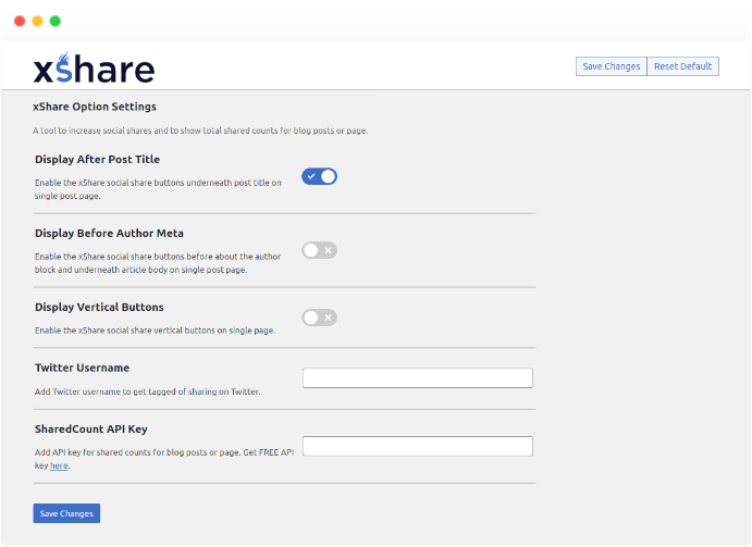 xShare Settings Page