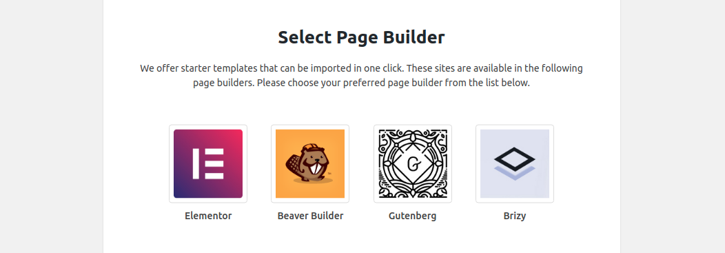 Select a page builder