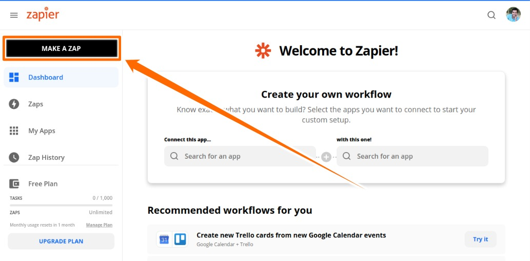Click on Make a Zap Button