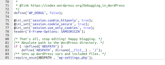 Code in wp-config
