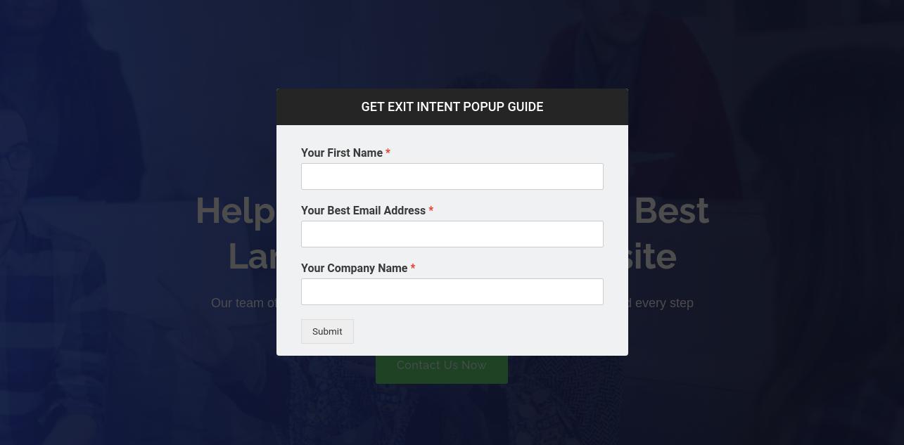 Exit Intent Popup Form