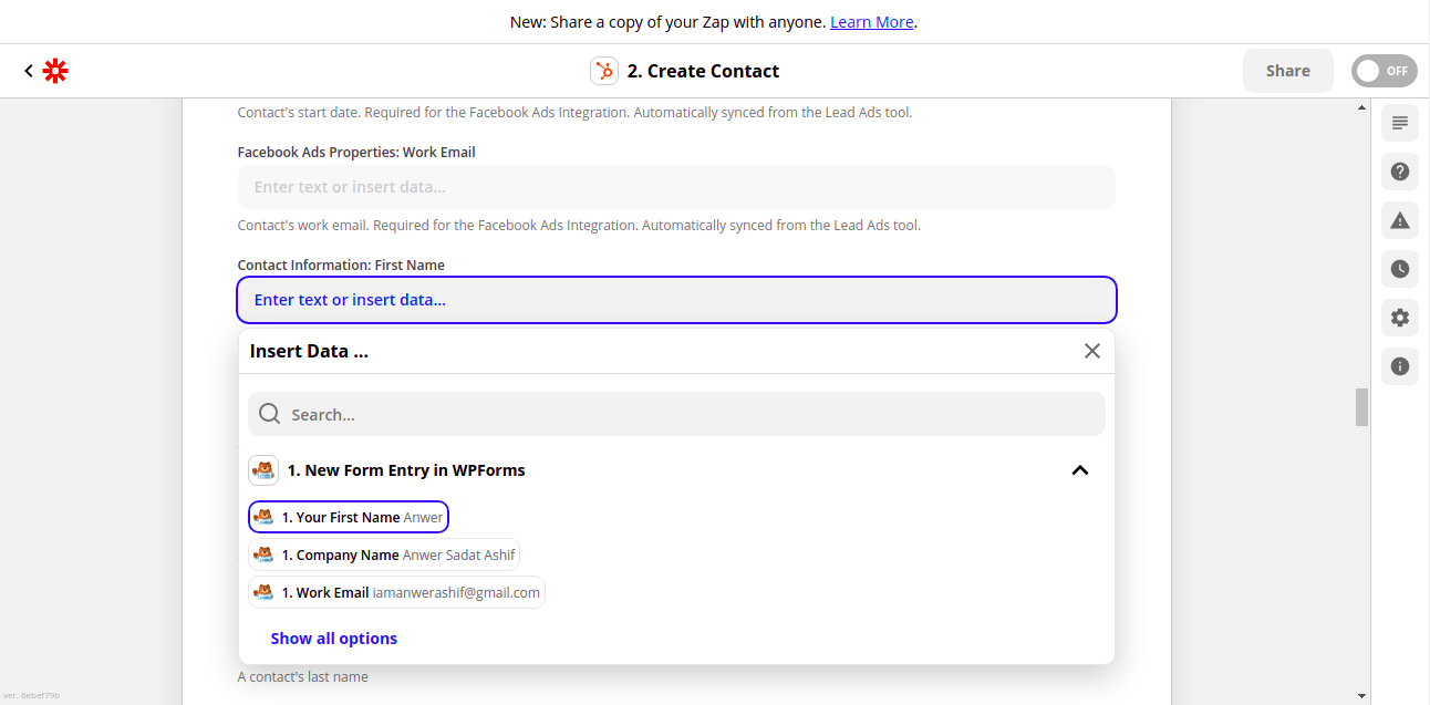 Select WPForms Field for HubSpot Contact Field