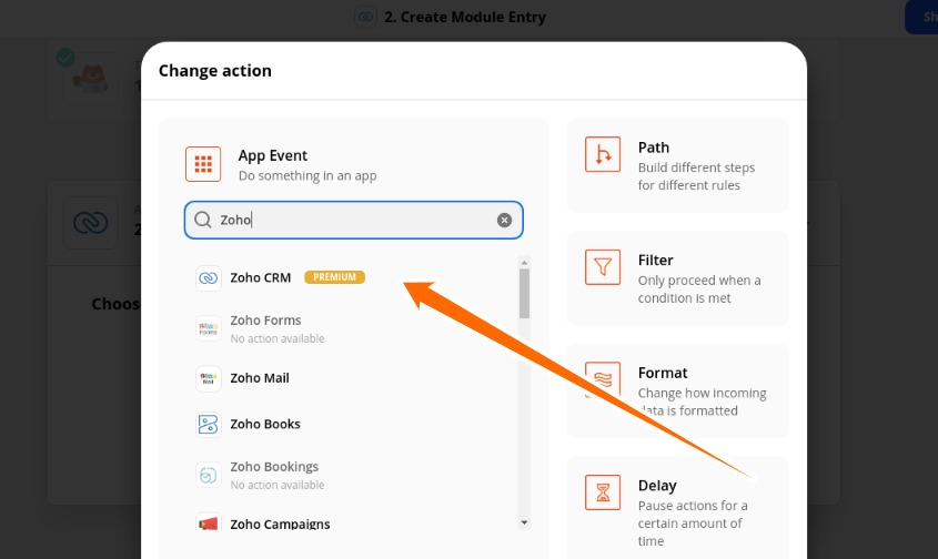 Select Zoho CRM for Action App Event