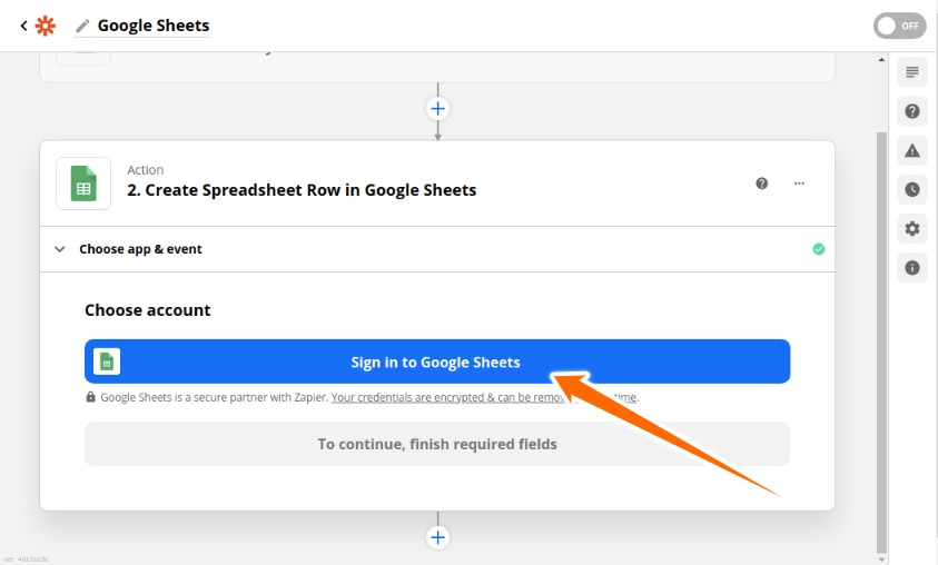 Sign in with Google Sheets Account