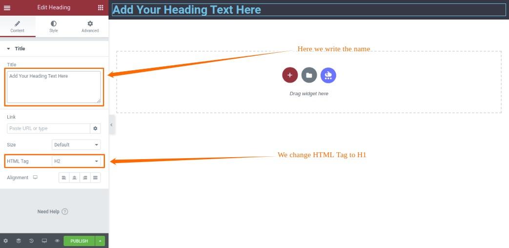 Write Name and Change HTML Tag