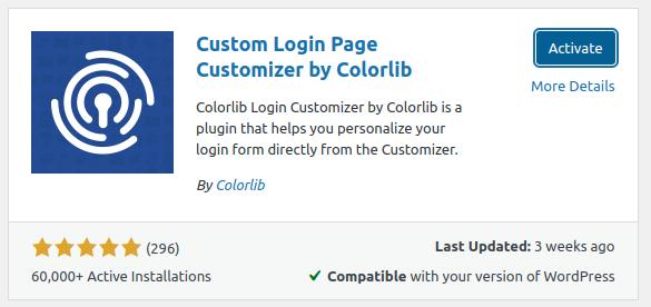 Active Colorlib Login Customizer