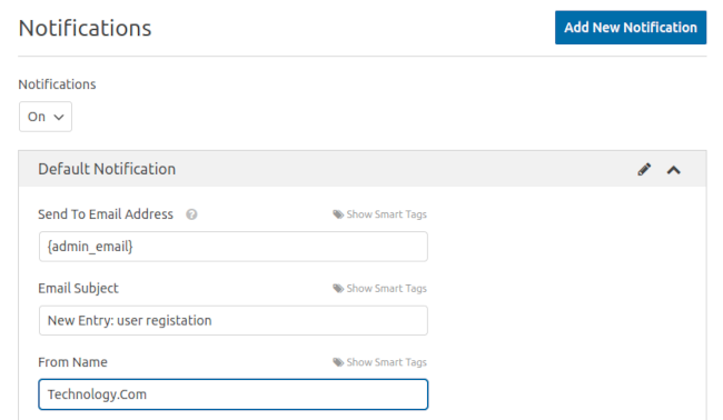 Add New Notification WPForms