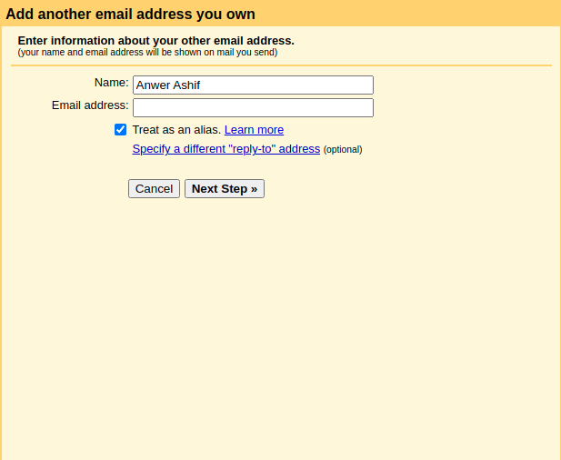 Add another email address Option