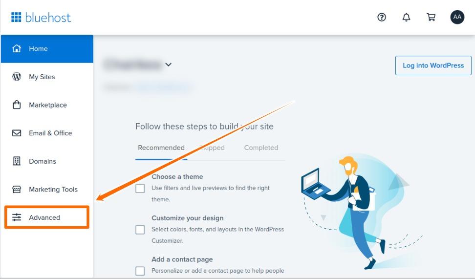 Bluhost Account Advanced Option