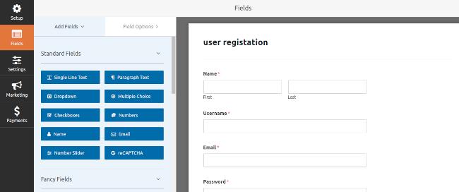 User Registration Form Builder