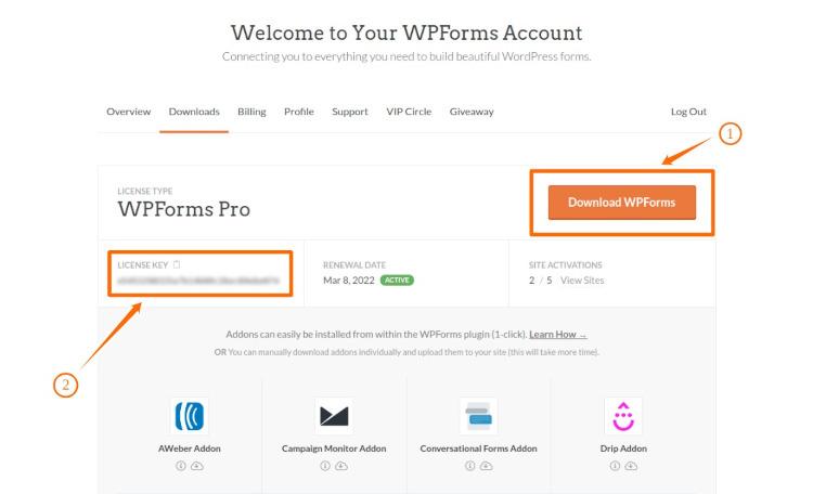 WPForms Account Dashboard