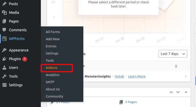 WPForms Addons In WordPress Dashboard