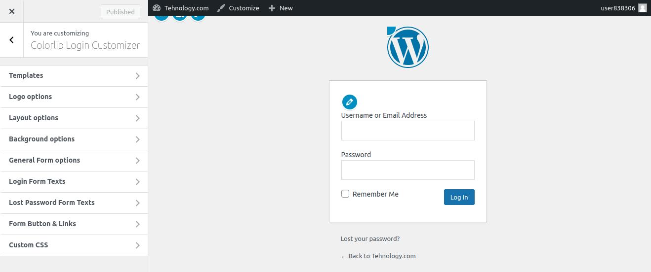 WordPress Login Page Customizer
