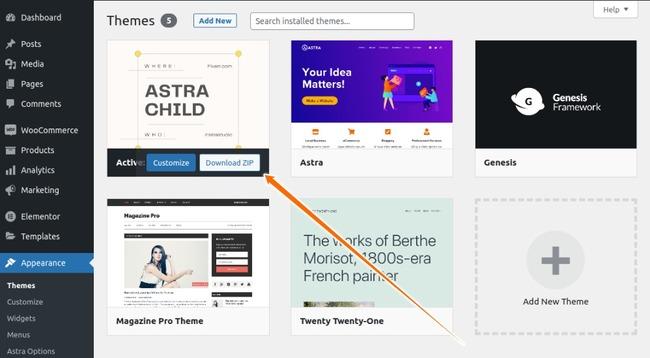 WordPress Theme Download Button