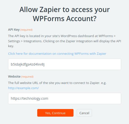 API Key Zapier