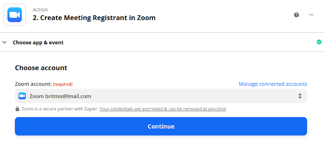 Confirm Zoom Connection on Zapier