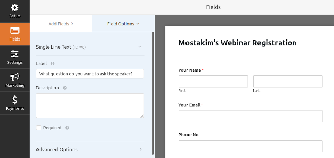Form Builder Page
