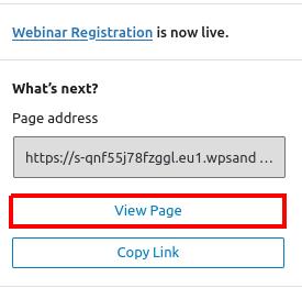 Publish Webinar Registration Page