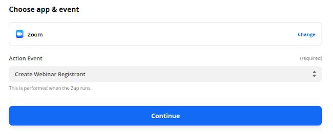 Select Create Webinar Registrant Option
