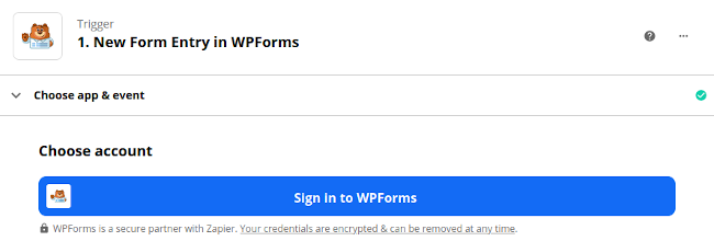 Sign in to WPForms on Zapier